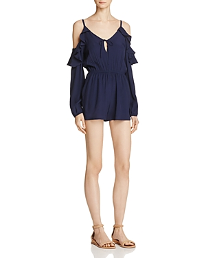 Aqua Cold Shoulder Ruffle Romper - 100% Exclusive