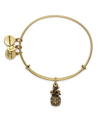 ALEX AND ANI Pineapple Adjustable Wire Bangle in Russian Gold