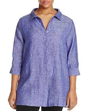 Foxcroft Plus Skye Linen Button-Down Tunic