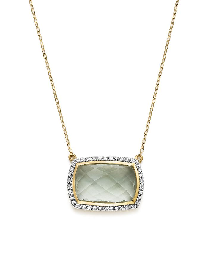 """Bloomingdale's - Green Amethyst Pendant Necklace with Diamonds in 14K Yellow Gold, 17"""" - 100% Exclusive"""