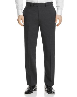 HART SCHAFFNER MARX Flat Front Solid Stretch Wool Trousers in Charcoal Solid