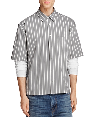 Vince Stripe Boxy Classic Fit Button-Down Shirt