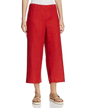 Eileen Fisher Cropped Wide Leg Organic Linen Pants