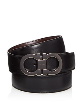 Salvatore Ferragamo - Smooth Reversible Calf Belt with Tonal Metallic  Double Gancini Buckle ... 1e8c0c726b