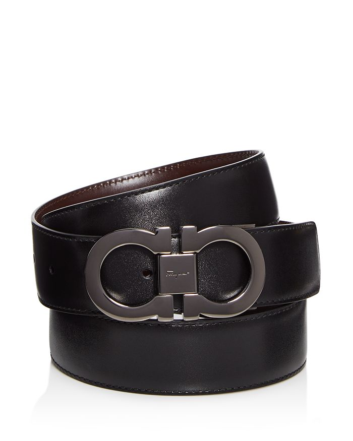 Men's Smooth Reversible Calf Belt with Tonal Metallic Double Gancini Buckle