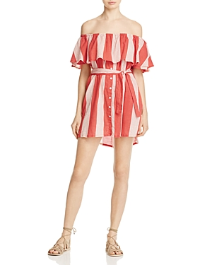 Faithfull the Brand Amalfi Off-the-Shoulder Stripe Dress