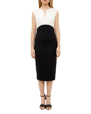 $Ted Baker Color-Blocked Silk-Bodice Dress - Bloomingdale's