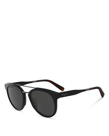 Salvatore Ferragamo - Men's Top Bar Round Sunglasses, 55mm