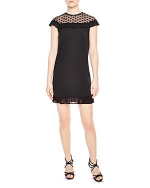 Sandro Ewen Crochet-Inset Dress