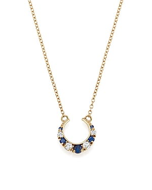 Iconery x Stone Fox Bride 14K Yellow Gold Crescent Diamond and Sapphire Necklace, 16
