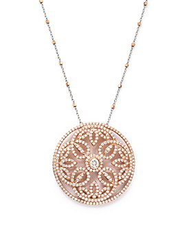 Bloomingdale's - Diamond Pendant Necklace with Diamond Cut Bead Chain in 14K Rose and White Gold, 2.0 ct. t.w. - 100% Exclusive