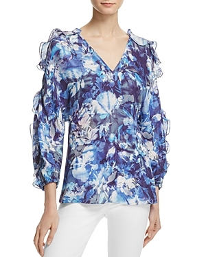 Chelsea And Walker Ali Ruffled Floral Print Silk Blouse