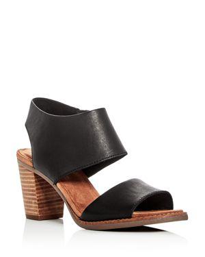 Toms Women's Majorca Leather Cutout Block Heel Sandals