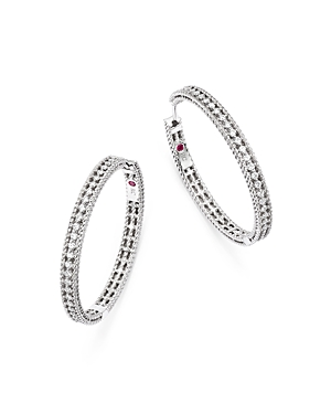 Roberto Coin 18K White Gold Symphony Barocco Diamond Hoop Earrings
