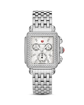 MICHELE - Deco Diamond Dial Watch Head, 33 x 35mm
