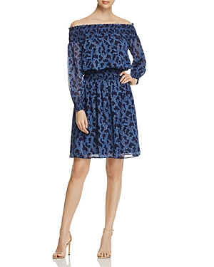 Michael Michael Kors Arbor Off-The-Shoulder Smock Dress