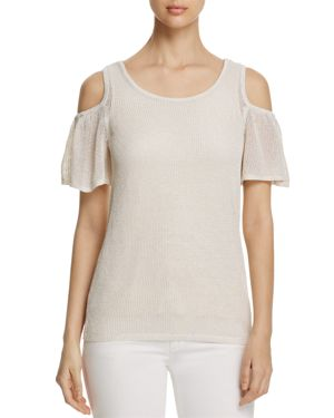 Calvin Klein Flutter Sleeve Cold-Shoulder Sweater