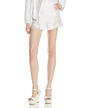 Alice + Olivia Marisa Embroidered Back-Zip Shorts