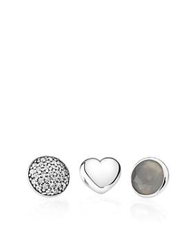 PANDORA - Charms - Sterling Silver, Grey Moonstone & Cubic Zirconia June Petites, Set of 3