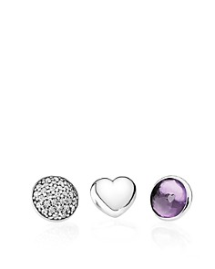 PANDORA Charms - Sterling Silver, Synthetic Amethyst & Cubic Zirconia February Petites, Set of 3 - Bloomingdale's_0