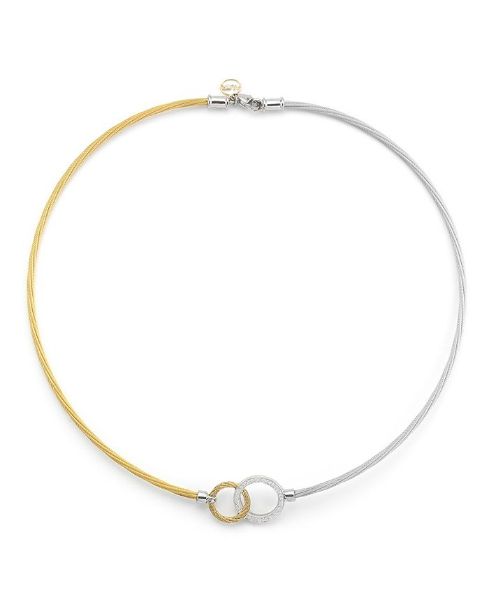 """ALOR - Two-Tone Hook Necklace, 18"""""""