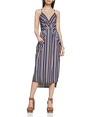 BCBGeneration Stripe Faux Wrap Midi Dress