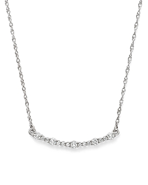 Diamond Curved Bar Pendant Necklace in 14K White Gold, .30 ct. t.w. - 100% Exclusive