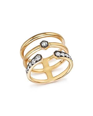 Diamond Triple Row Band in 14K Yellow Gold, .45 ct. t.w. - 100% Exclusive