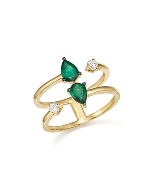 Emerald and Diamond Double Row Ring in 14K Yellow Gold - 100% Exclusive