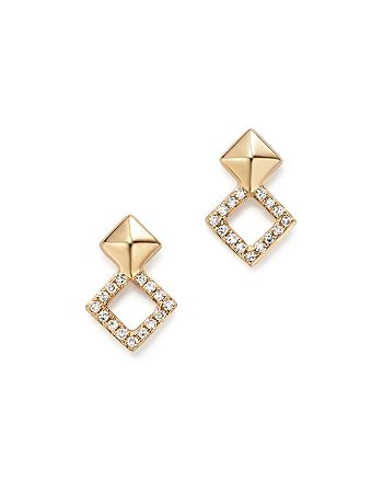 KC Designs - 14K Yellow Gold Diamond Stacked Square Stud Earrings