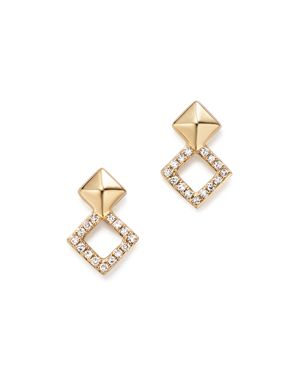 Kc Designs 14K Yellow Gold Diamond Stacked Square Stud Earrings