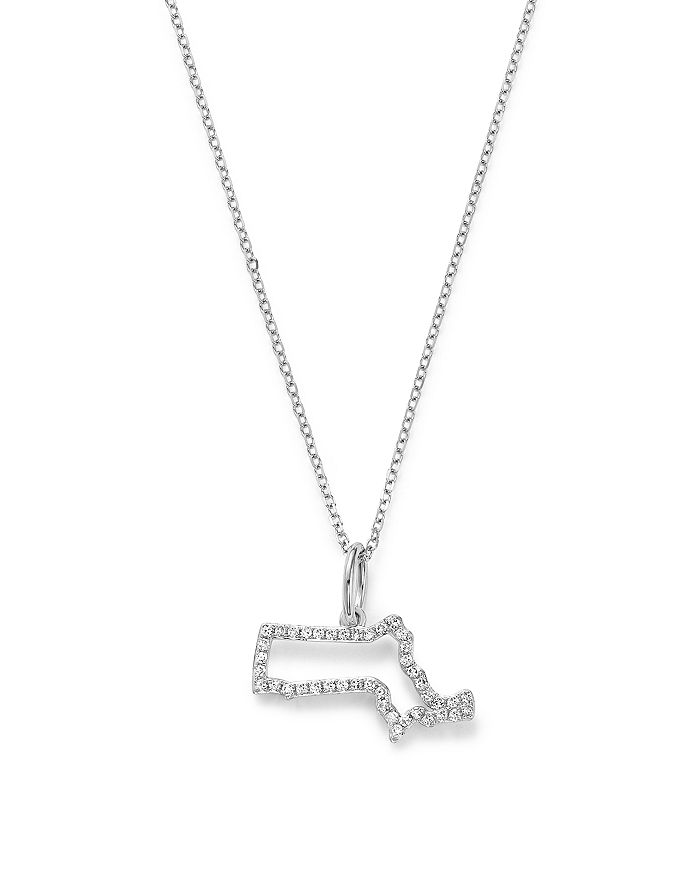 "KC Designs - 14K White Gold Diamond Mini Massachusetts State Necklace, 16"""
