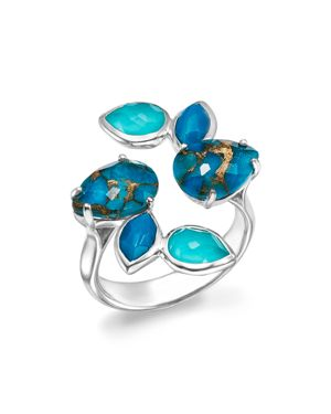 Ippolita Sterling Silver Rock Candy Mixed Turquoise and Doublet Bypass Ring
