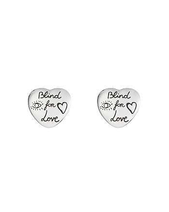 Gucci - Sterling Silver Blind For Love Engraved Earrings