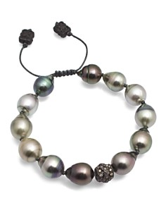 Armenta - Old World Midnight Tahitian South Sea Pearl and Champagne Diamond Beaded Cord Bracelet