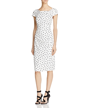 Adrianna Papell Short-Sleeve Polka Dot Dress