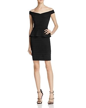 Adrianna Papell Off-the-Shoulder Peplum Cocktail Dress