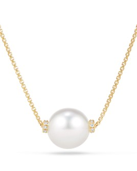 David Yurman - Solari Single Station Necklace in 18K Gold with Diamonds and South Sea Cultured Pearl