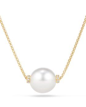 3e3d51016 David Yurman - Solari Single Station Necklace in 18K Gold with Diamonds and  South Sea Cultured ...