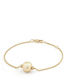 David Yurman - Solari Single Station Bracelet in 18K Gold with Diamonds and South Sea Yellow Cultured Pearl