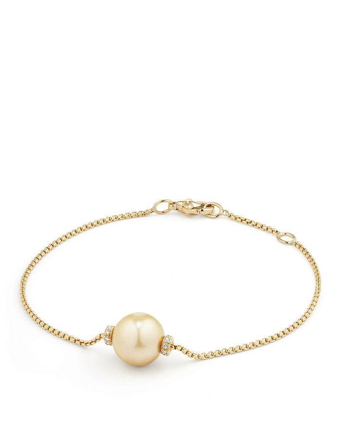 David Yurman - Solari Single Station Bracelet in 18K Gold with Diamonds and South Sea Yellow Cultured Pearl