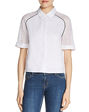 Maje Casey Eyelet-Sleeve Shirt