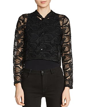 Maje Volta Cropped Lace Jacket