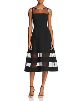 Aidan By Mattox Illusion Fit And Flare Dress