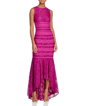 JS Collections - Lace Illusion High/Low Gown