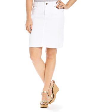 Beija-Flor Straight Denim Skirt in White, $85.2
