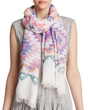 Aqua Geometric Print Scarf - 100% Exclusive