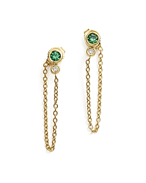 Emerald and Diamond Front-Back Chain Drop Earrings in 14K Yellow Gold - 100% Exclusive