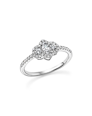 Diamond Marquise and Round Cut Center Ring in 14K White Gold, .50 ct. t.w. - 100% Exclusive