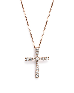 Diamond Cross Pendant Necklace in 14K Rose Gold, .50 ct. t.w. - 100% Exclusive